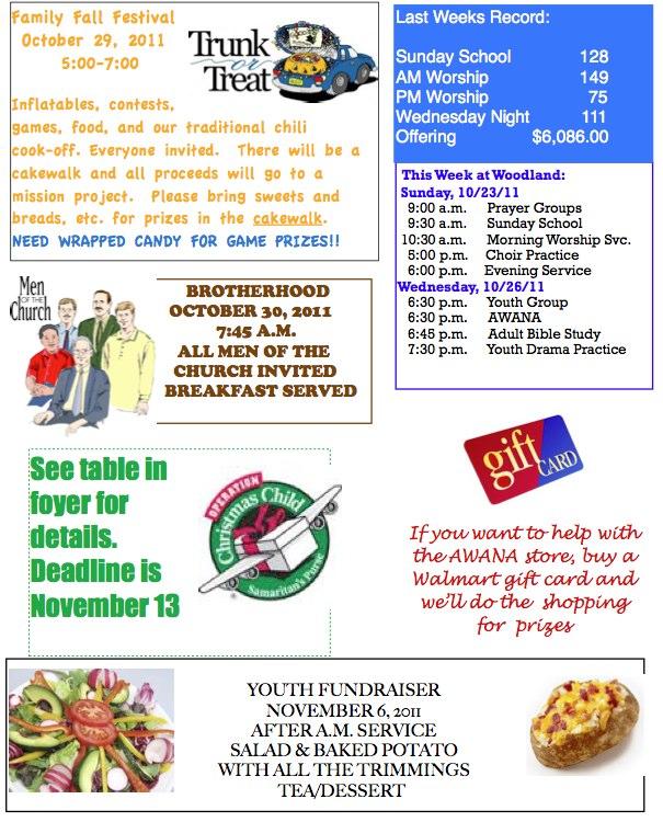 Bulletin for October 23, 2011 – Woodland Baptist Church